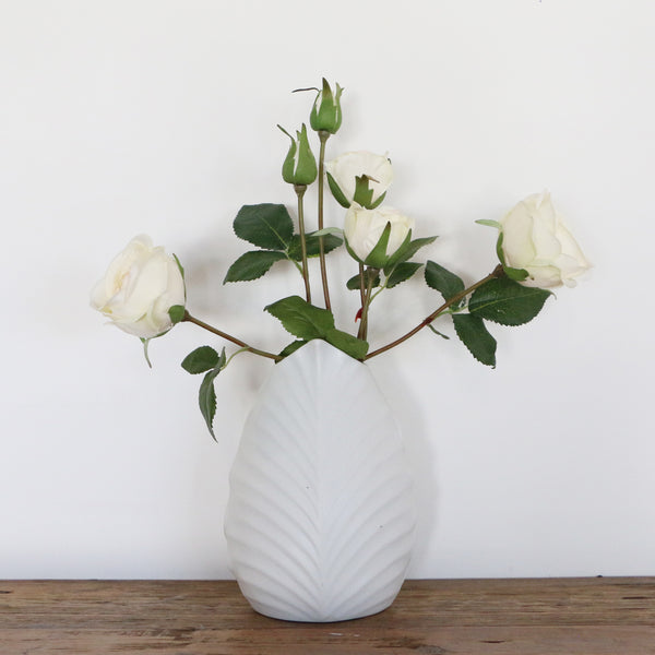 Leaf Vase in Matte White with Green Interior