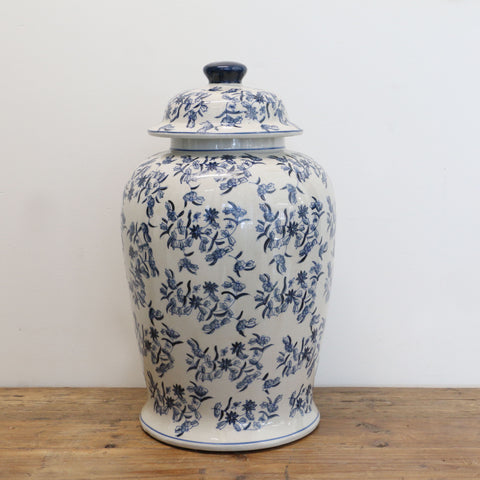 Blue & White Ceramic Ginger Jar Urn with Lid