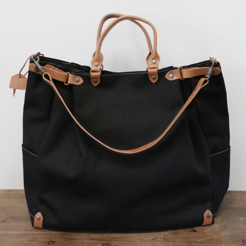French Leather Folk Overnight Bag In Noir Leopold Hall