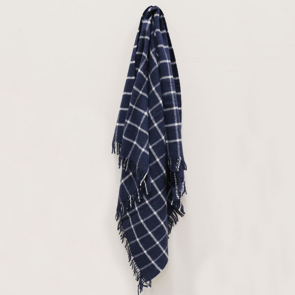 Wool Throw in Navy Check