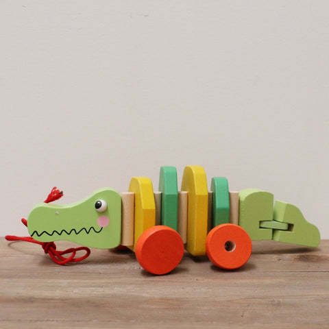 WOODEN PULL ALONG CROCODILE