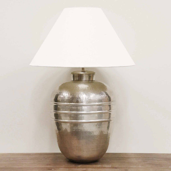 Handmade Brass Ridged Lamp in Antique Silver Finish