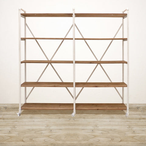 Recycled Pine Industrial Shelving Unit in White Wash