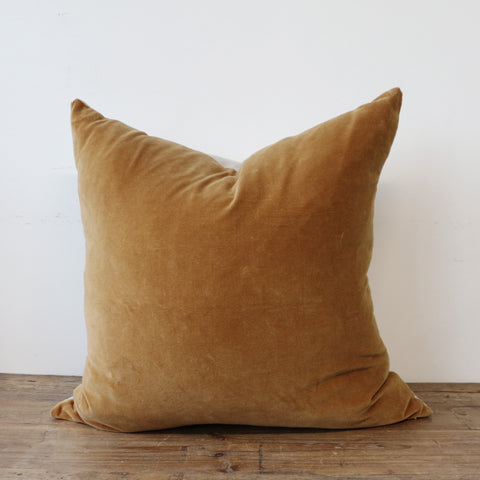 Raphael Soft Gold Velvet Cushion Cover with Linen Back