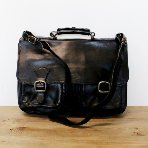 Buckle Front Leather Satchel in Black
