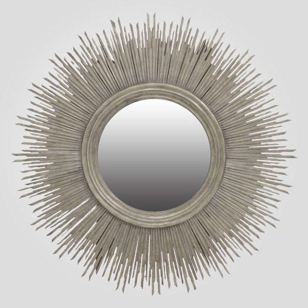 Round Sun Mirror in Silver Leaf Finish