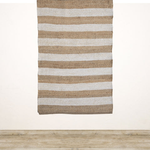 Natural and White Stripe Jute Rug 1800x1200