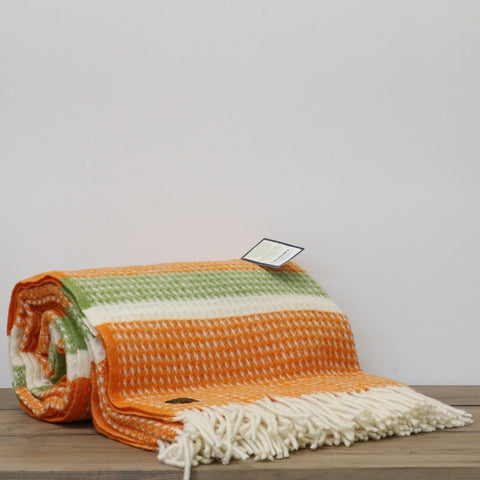 Wool Throw in Orange and Green