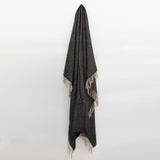 Wool Herringbone Throw in Vintage Black and Beige