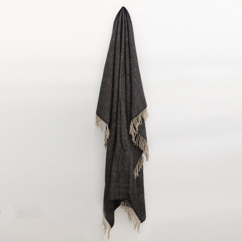 Wool Herringbone Throw in Vintage Black and Beige - DUE END OF MAY