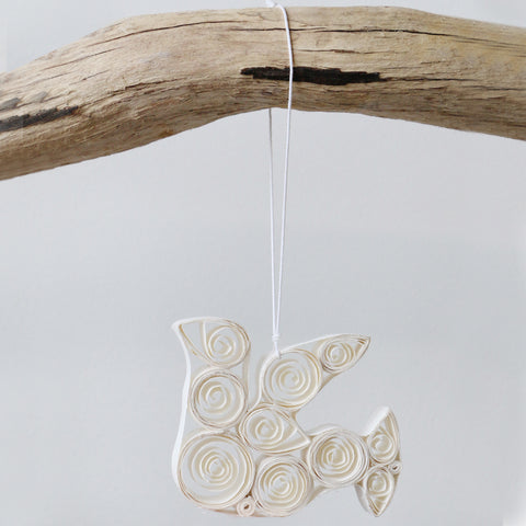 Handmade Curled Paper Dove Decoration