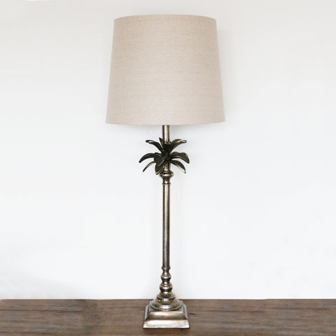 Caribbean Aged Pewter Palm Leaf Lamp with Square Base