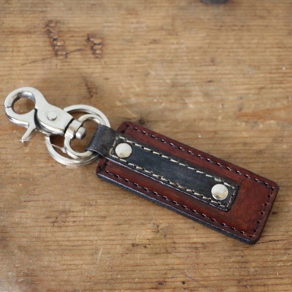 Leather Key Ring in Tan and Grey