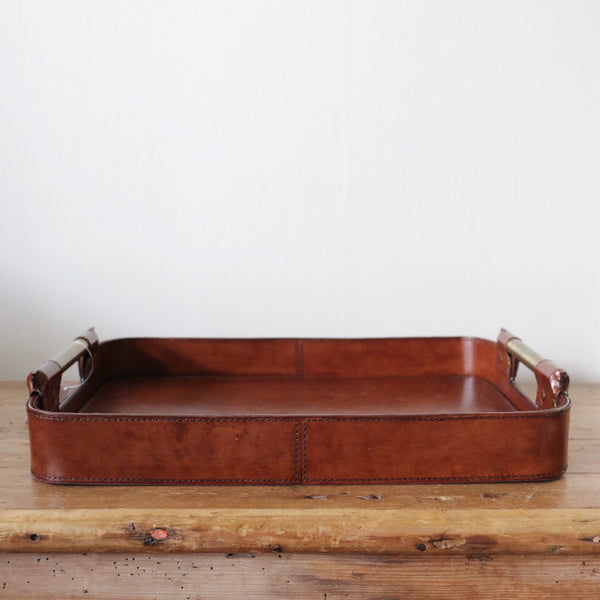 Leather Tray with Brass Handle