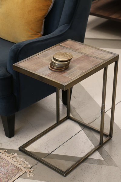 Sofa Table in Recycled Elm with Metal Base