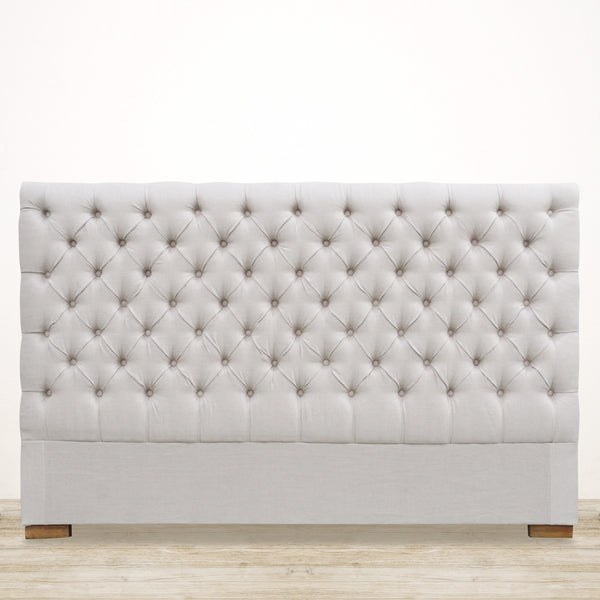 Deep Button Linen Headboard - King