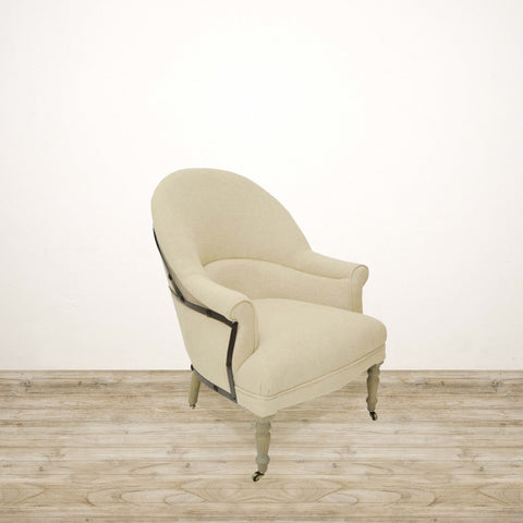 Hudson Linen Armchair with Metal Detail and Oak Legs