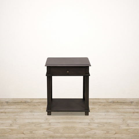 Oak Bedside Table  with 1 Drawer and Shelf in Charcoal Finish