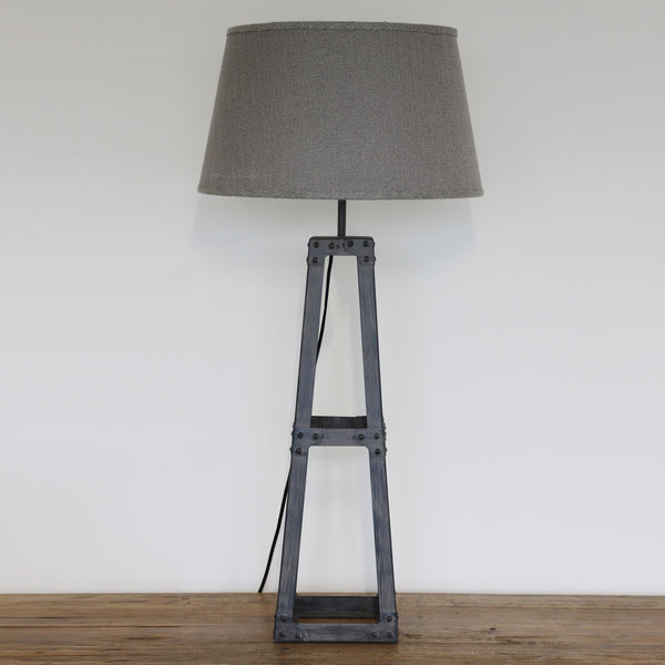Grey Metal Pyramid Lamp & Shade