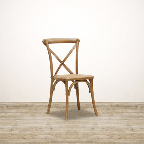 Vienna Stacking Chair in Elm with Wooden Cross Back