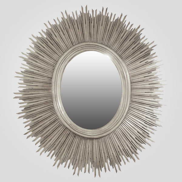 Oval Sun Mirror in Silver Finish