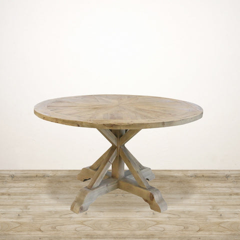 Round Reclaimed Pine Dining Table with Sunburst Top
