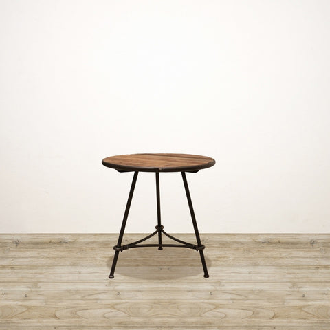 Small Recyled Pine and Metal Industrial Occasional Table