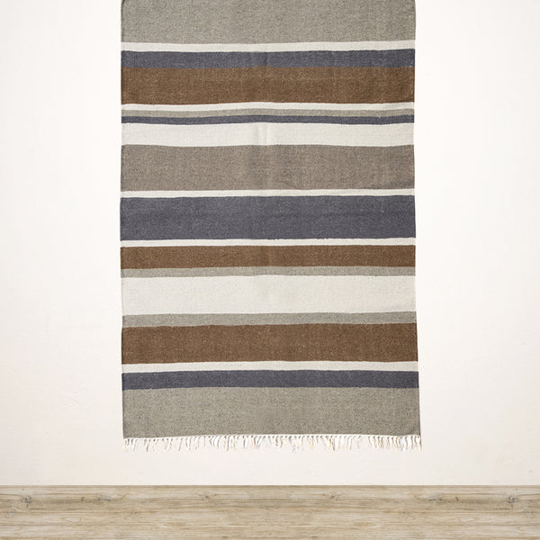 Earthy Stripes Wool & Cotton Rug