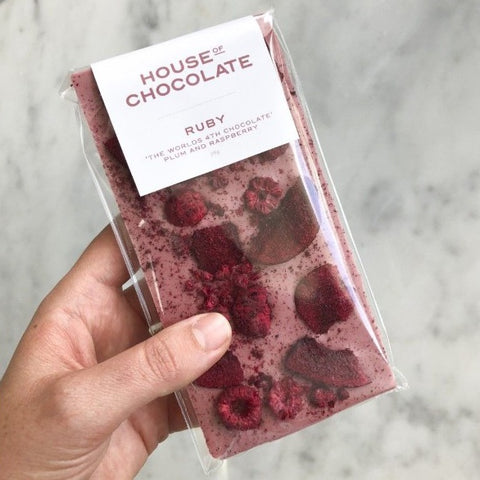 Plum and Raspberry Ruby Chocolate Bar
