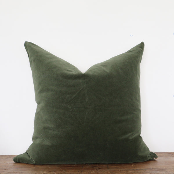 Hunter Green Velvet Cushion Cover with Linen Back