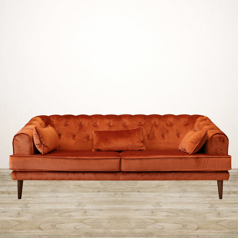 Brompton Couch in Terracotta Velvet