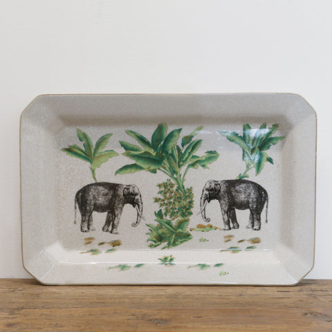 Elephant Safari Ceramic Platter