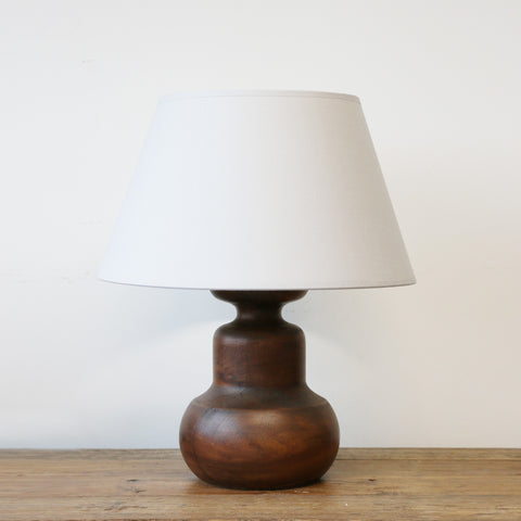 Java Wooden Urn Lamp with Ivory Shade