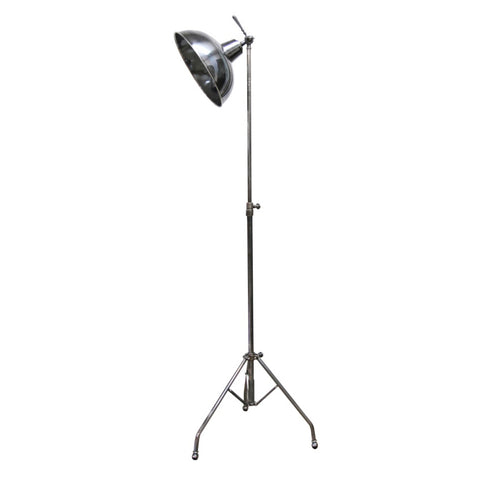 Solid Brass Brushed Pewter Style Tripod Floor Lamp