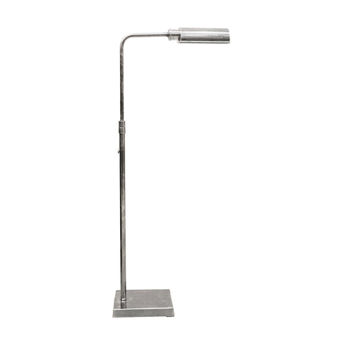 Adjustable Brass Floor Lamp in Pewter Finish