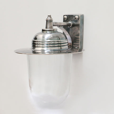 Glass Wall Lamp in Brushed Pewter Style Finish
