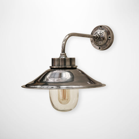 Outdoor IP54 Cape Cod Brass Wall Lamp in Silver Finish
