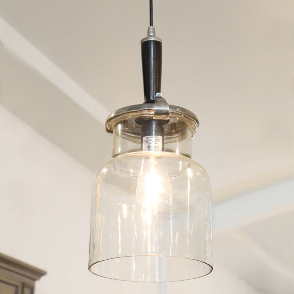 Hanging Glass Jar Lamp with Brushed Pewter Style Finish