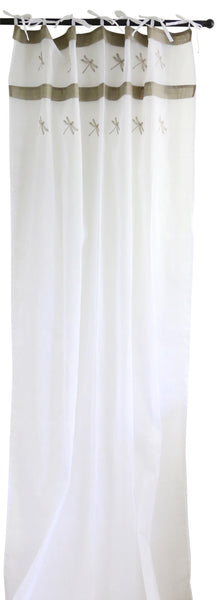 White Voile Curtain with Dragonflies