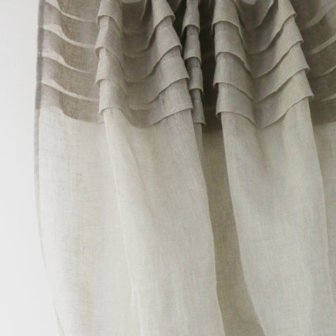 Natural Linen Voile Curtain with Pleated Top