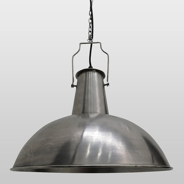 Industrial Boiler Room Hanging Light in Silver Finish