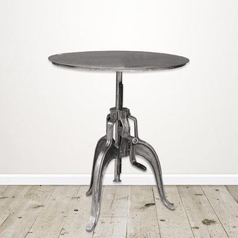 Industrial Cast Iron Round Occasional Table