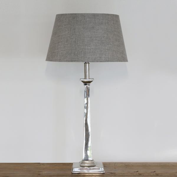 Square Base Tapered Lamp in Nickel Finish