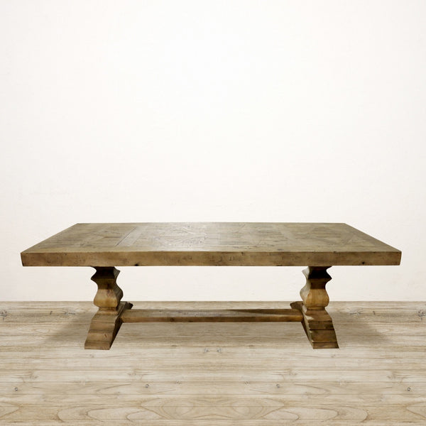 Recycled Pine Dining Table with Parquet Top