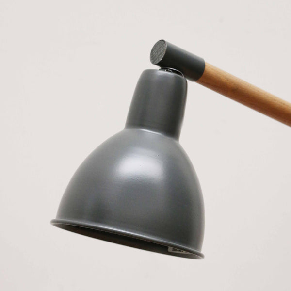 Wooden Desk Lamp with Slate Colour Shade