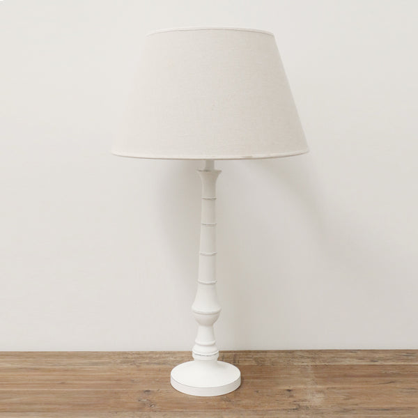 Round White Washed Lamp Base with Shade