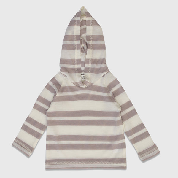 New Zealand Merino Stripe Hoodie in Blush Stripe - 6-12mth