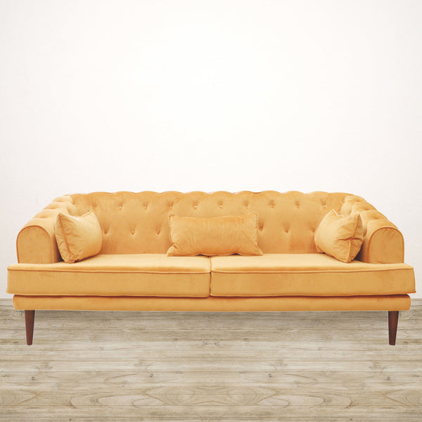 Brompton Velvet Couch in Apricot