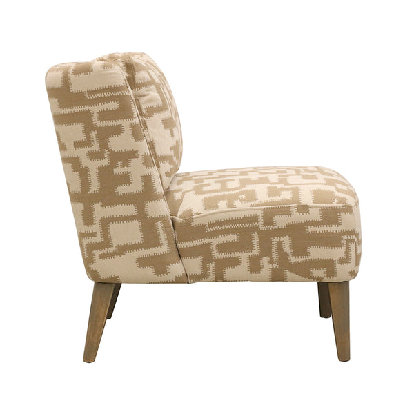 Ascot Chair  in Checker Beige and Natural Fabric
