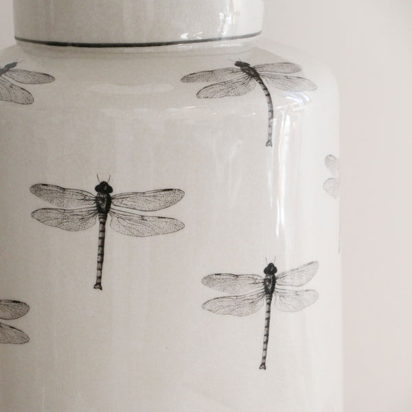 Dragonfly Ceramic Cylinder Lamp